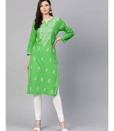 Hand Embroidered Green Pure Cambric Cotton Lucknow Chikankari Kurti