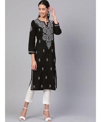 Hand Embroidered Black Pure Cambric Cotton Lucknow Chikankari Kurti