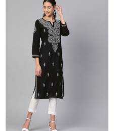 Hand Embroidered Black Pure Cambric Cotton Lucknow Chikankari Kurti