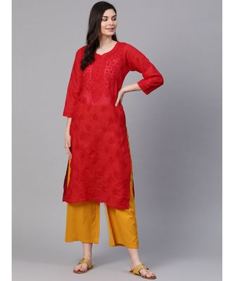 Hand Embroidered Red Cotton Lucknow Chikan Kurti