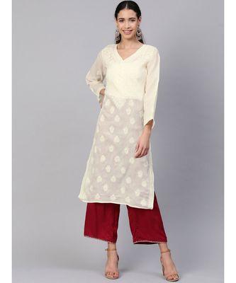 Hand Embroidered Cream Cotton Lucknowi Chikan Kurti