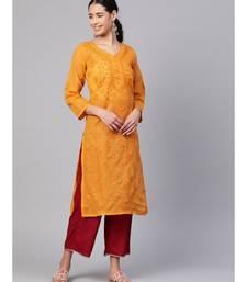 Hand Embroidered Mustard Cotton Lucknowi Chikan Kurti