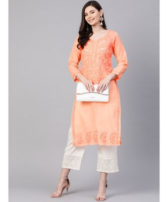 Hand Embroidered Peach Cotton Lucknowi Chikan Kurti
