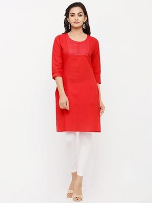 Women's  RED Cotton Embroidered Straight Kurta