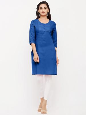 Women's  Royal Blue Cotton Embroidered Straight Kurta