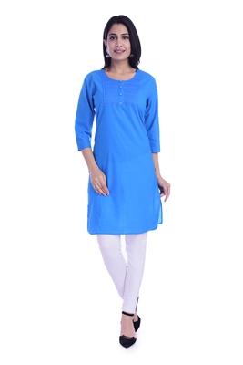 Women's  Sky Blue Cotton Embroidered Straight Kurta