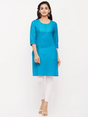 Women's  Turquoise Cotton Embroidered Straight Kurta