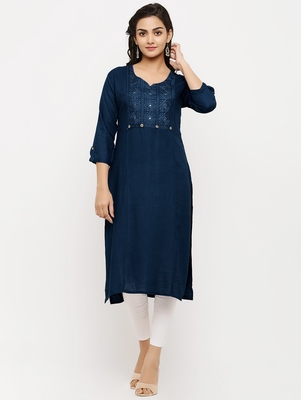 Women's  Navy Blue Rayon Embroidered Straight Kurta