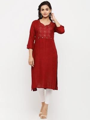 Women's  RED Rayon Embroidered Straight Kurta