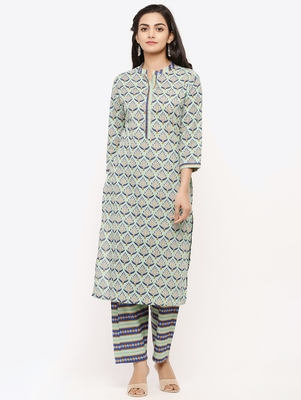 Women's Grey Cotton Cambric Floral Print Straight Kurta & Palazzo Set