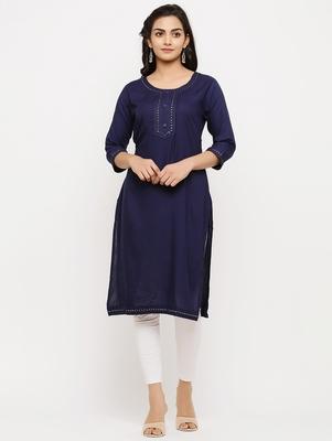 Women's  Blue Rayon Embroidered Straight Kurta