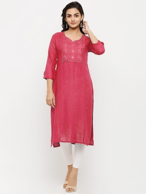 Women's  Peach Rayon Embroidered Straight Kurta