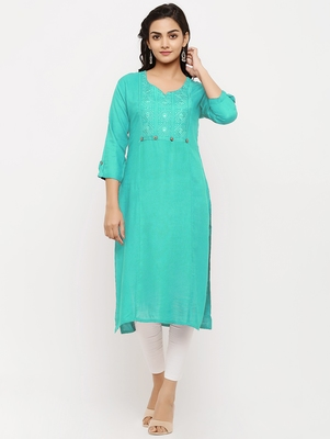 Women's  Sea Green Rayon Embroidered Straight Kurta