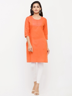 Women's  Orange Cotton Embroidered Straight Kurta