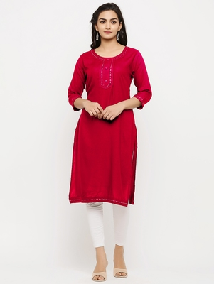 Women's  Red Rayon Embroidered Straight Kurta