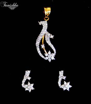 Stunning cz gold plated pendent set