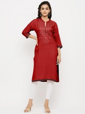 Women's  Maroon Rayon Embroidered Straight Kurta