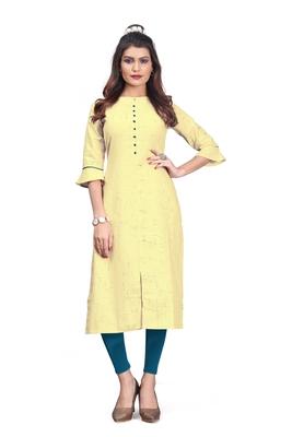Khadi Cotton kurti for Women Yellow