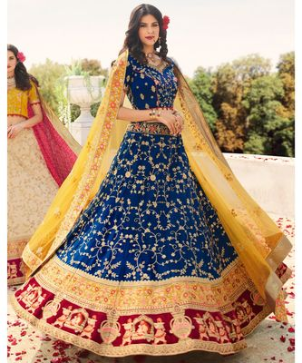 Blue woven art silk semi_stitched lehenga-choli