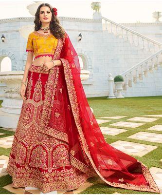 Maroon woven art silk semi_stitched lehenga-choli