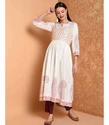 WHITE HAND BLOCK PRINT KURTA SET