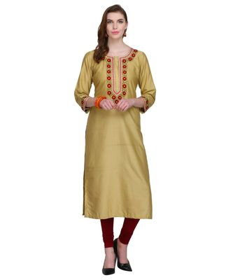beige cotton blend straightr kurta EMB SET