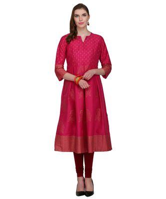 pink cotton blend flared kurta SET