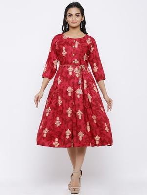Women's Rayon Printed A-line Kurta Dress (Red)