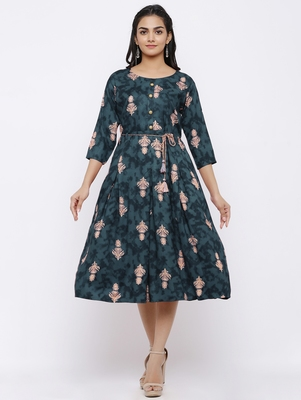 Women's Rayon Printed A-Line Short Dress (Grey)