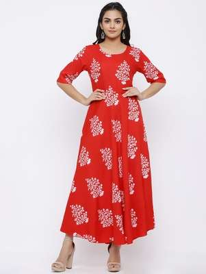 Women's Rayon Floral Printed Flared Kurta Dress (Red)