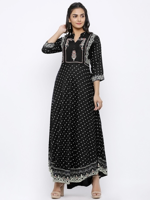 Women's Rayon Printed Flared Gown (Black)