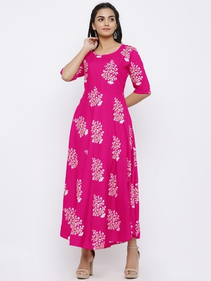 Women's Rayon Printed Flared Gown (Pink)