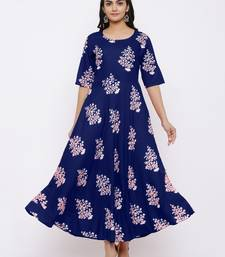 Women's Rayon Printed Flared Gown (Blue)