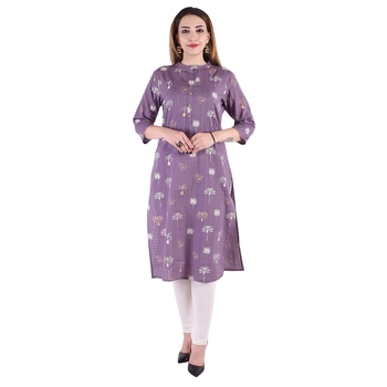 PURPLE  FOIL PRINTED COTTON STRAIGHT KURTI
