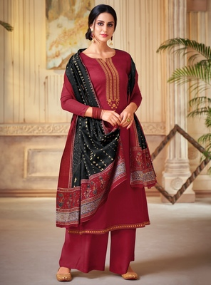 Wine embroidered cotton salwar