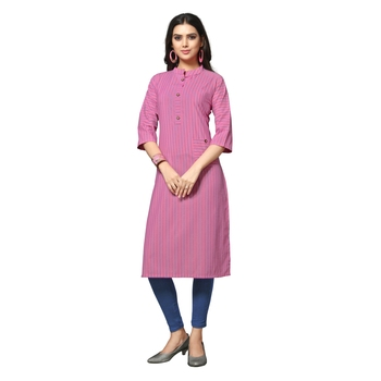 Pink printed cotton kurtas-and-kurtis