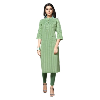 Green printed cotton kurtas-and-kurtis