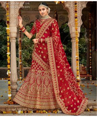 Red embroidered Silk unstitched bridal lehengas