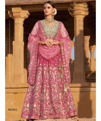 Pink embroidered Silk unstitched bridal lehengas