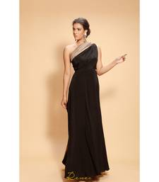 black embroidered crepe party wear gown