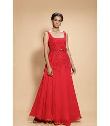 red embroidered georgette long gown