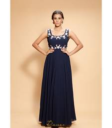blue embroidered georgette long gown
