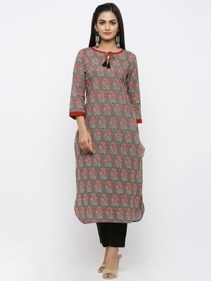 Womens Grey Cotton Printed Straight Kurta