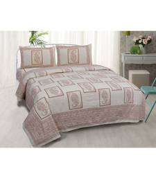 multicolour printed cotton jaipuri double king size bed sheet with pillow cover