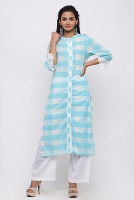 Women's Cotton Checkered Printed Straight Blue Kurta Palazzo Set