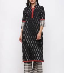 Women's Cotton Flex Ikat Printed Straight Black Kurta Palazzo Set