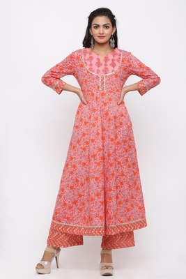 Women's Cotton Floral Printed Anarkali Orange Kurta Palazzo Set