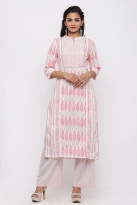 Women's Cotton Ikat Printed Straight Pink Kurta Palazzo Set