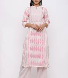 Women's Cotton Ikat Printed Straight Pink Kurta Palazzo Set
