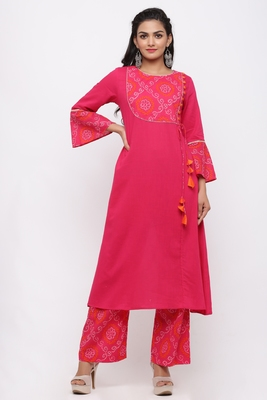 Women's Cotton Slub Bandhej Printed Angrakha Fuschia Pink Kurta Palazzo Set